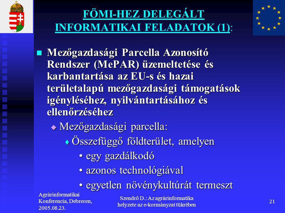 Agrárinformatikai Konferencia, Debrecen, 2005.08.23. Szendrő D.: Az agrárinformatika helyzete az e-kormányzat tükrében 21 FÖMI-HEZ DELEGÁLT INFORMATIK