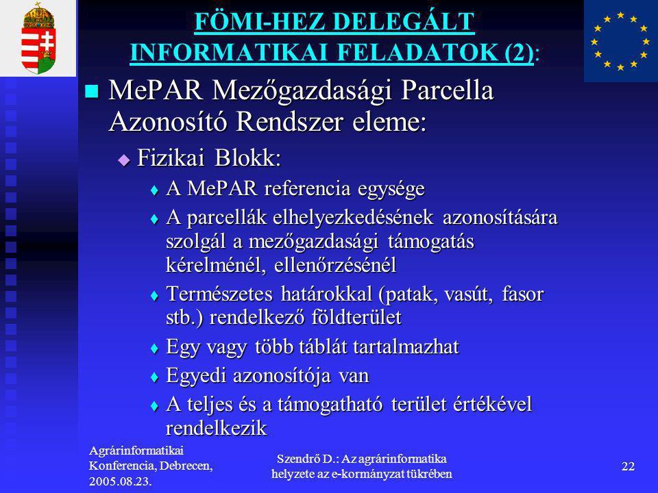 Agrárinformatikai Konferencia, Debrecen, 2005.08.23. Szendrő D.: Az agrárinformatika helyzete az e-kormányzat tükrében 22 FÖMI-HEZ DELEGÁLT INFORMATIK