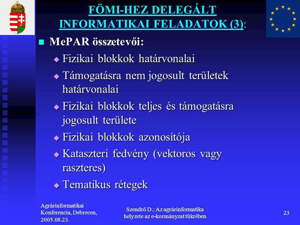 Agrárinformatikai Konferencia, Debrecen, 2005.08.23. Szendrő D.: Az agrárinformatika helyzete az e-kormányzat tükrében 23 FÖMI-HEZ DELEGÁLT INFORMATIK