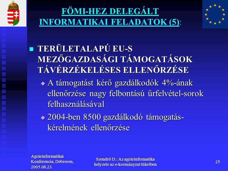Agrárinformatikai Konferencia, Debrecen, 2005.08.23. Szendrő D.: Az agrárinformatika helyzete az e-kormányzat tükrében 25 FÖMI-HEZ DELEGÁLT INFORMATIK