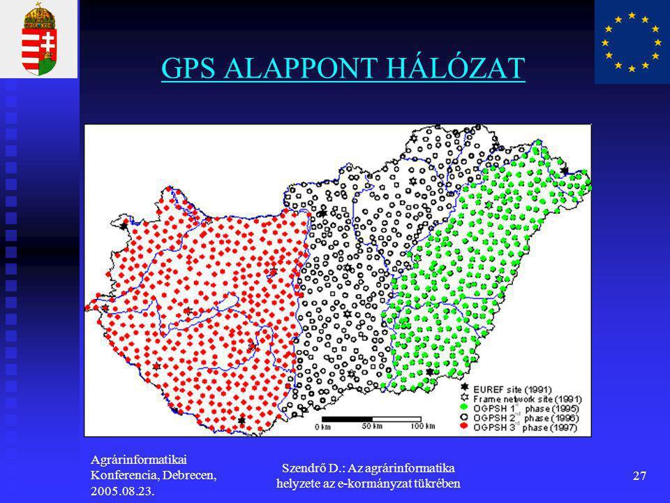 Agrárinformatikai Konferencia, Debrecen, 2005.08.23. Szendrő D.: Az agrárinformatika helyzete az e-kormányzat tükrében 27 GPS ALAPPONT HÁLÓZAT