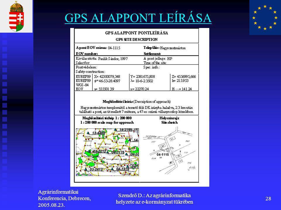 Agrárinformatikai Konferencia, Debrecen, 2005.08.23. Szendrő D.: Az agrárinformatika helyzete az e-kormányzat tükrében 28 GPS ALAPPONT LEÍRÁSA