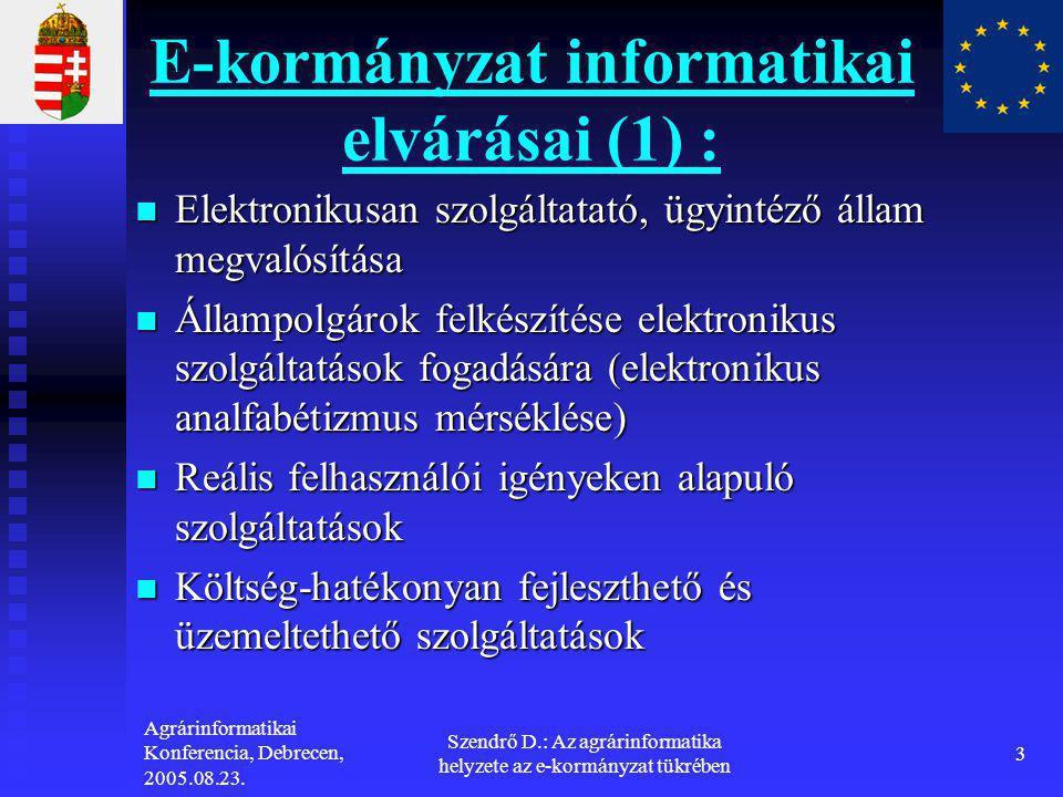 Agrárinformatikai Konferencia, Debrecen, 2005.08.23. Szendrő D.: Az agrárinformatika helyzete az e-kormányzat tükrében 3 E-kormányzat informatikai elv