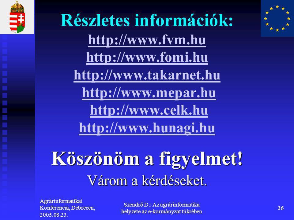 Agrárinformatikai Konferencia, Debrecen, 2005.08.23. Szendrő D.: Az agrárinformatika helyzete az e-kormányzat tükrében 36 Részletes információk: http: