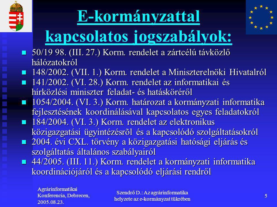 Agrárinformatikai Konferencia, Debrecen, 2005.08.23. Szendrő D.: Az agrárinformatika helyzete az e-kormányzat tükrében 5 E-kormányzattal kapcsolatos j