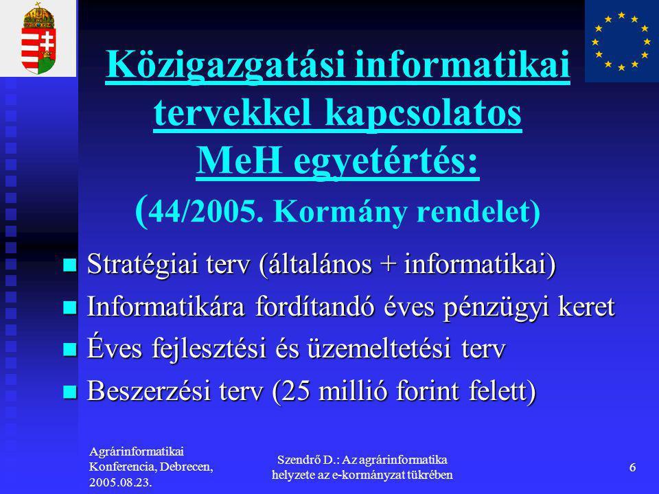 Agrárinformatikai Konferencia, Debrecen, 2005.08.23. Szendrő D.: Az agrárinformatika helyzete az e-kormányzat tükrében 6 Közigazgatási informatikai te