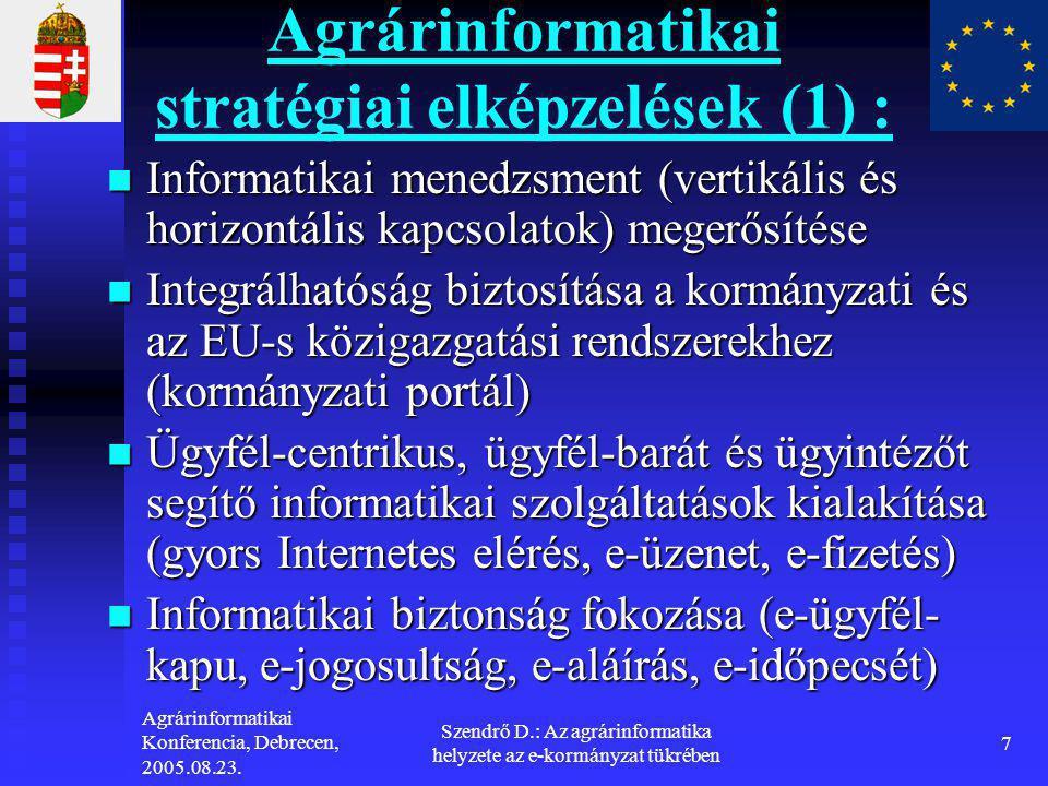 Agrárinformatikai Konferencia, Debrecen, 2005.08.23. Szendrő D.: Az agrárinformatika helyzete az e-kormányzat tükrében 7 Agrárinformatikai stratégiai