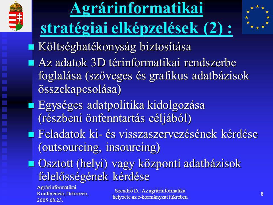 Agrárinformatikai Konferencia, Debrecen, 2005.08.23. Szendrő D.: Az agrárinformatika helyzete az e-kormányzat tükrében 8 Agrárinformatikai stratégiai