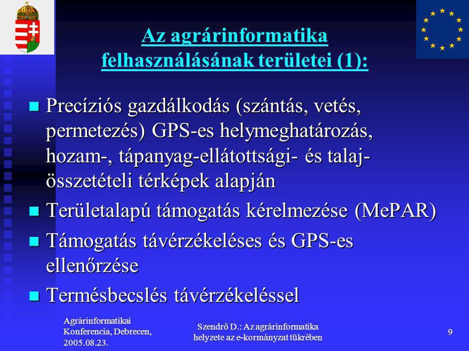 Agrárinformatikai Konferencia, Debrecen, 2005.08.23. Szendrő D.: Az agrárinformatika helyzete az e-kormányzat tükrében 9 Az agrárinformatika felhaszná