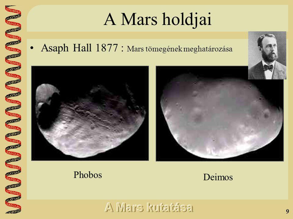 9 A Mars holdjai •Asaph Hall 1877 : Mars tömegének meghatározása Phobos Deimos