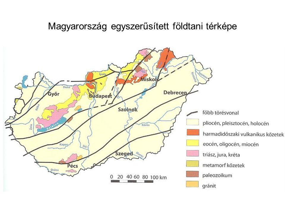 Magyarország egyszerűsített földtani térképe