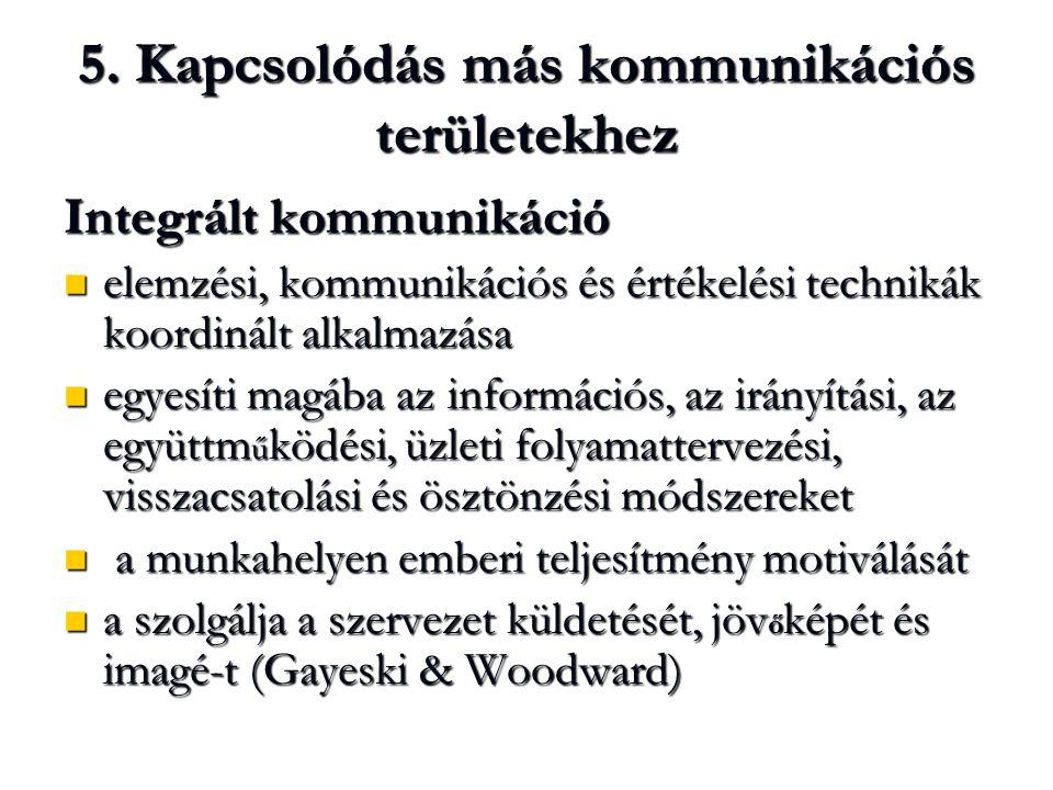 5. Kapcsolódás más kommunikációs területekhez Integrált kommunikáció  elemzési, kommunikációs és értékelési technikák koordinált alkalmazása  egyesí