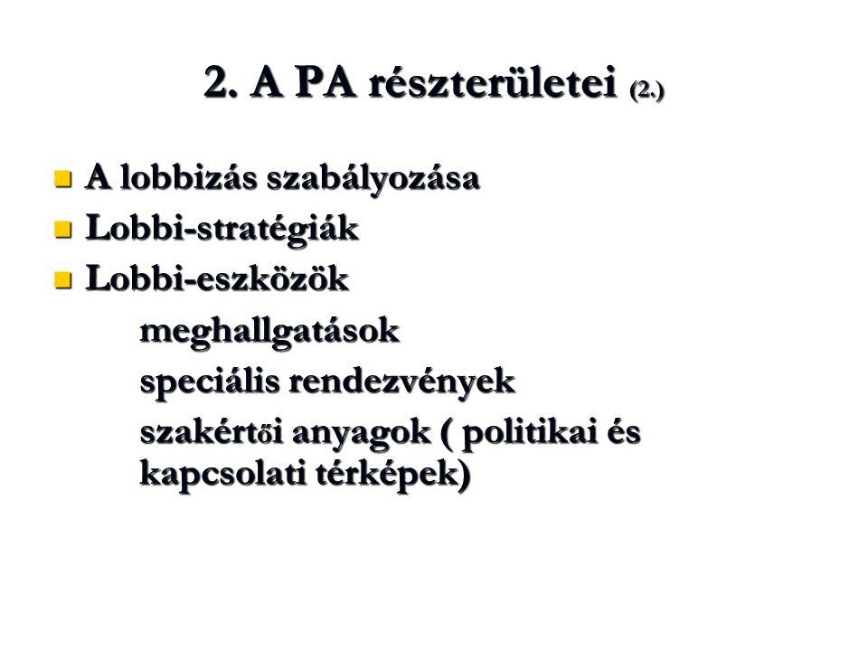 2. A PA részterületei (2.)  A lobbizás szabályozása  Lobbi-stratégiák  Lobbi-eszközök meghallgatások speciális rendezvények szakért ő i anyagok ( p