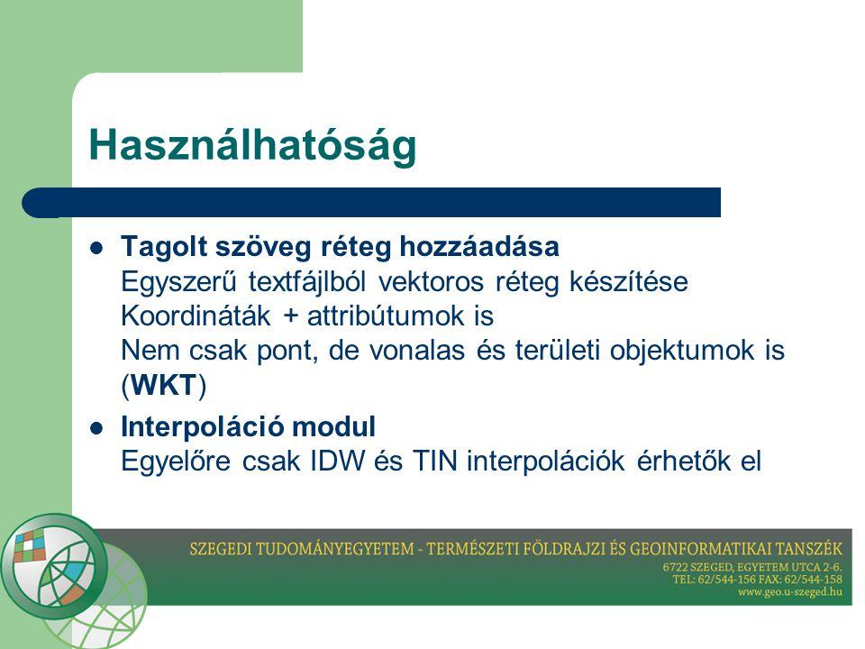 Használhatóság  Tagolt szöveg réteg hozzáadása Egyszerű textfájlból vektoros réteg készítése Koordináták + attribútumok is Nem csak pont, de vonalas és területi objektumok is (WKT)  Interpoláció modul Egyelőre csak IDW és TIN interpolációk érhetők el
