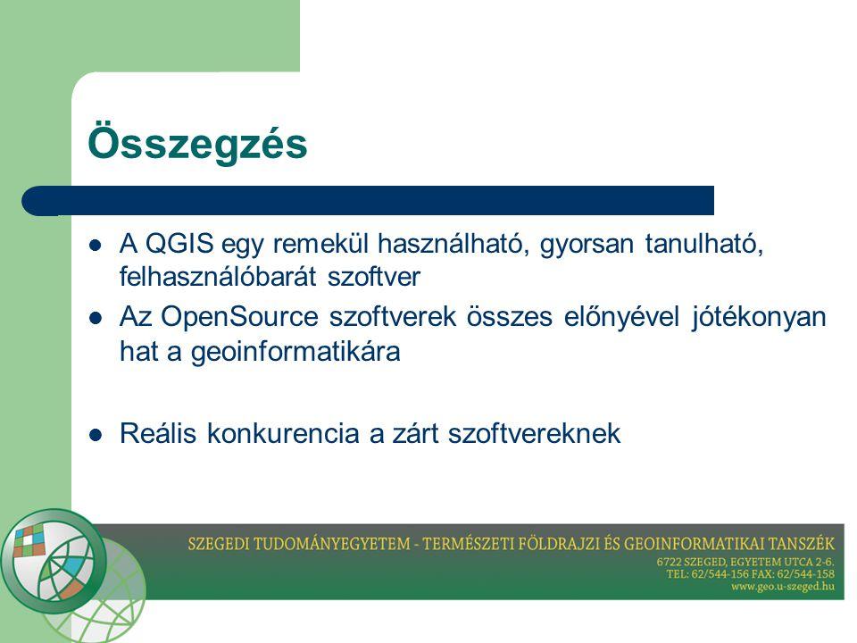 Összegzés  A QGIS egy remekül használható, gyorsan tanulható, felhasználóbarát szoftver  Az OpenSource szoftverek összes előnyével jótékonyan hat a geoinformatikára  Reális konkurencia a zárt szoftvereknek