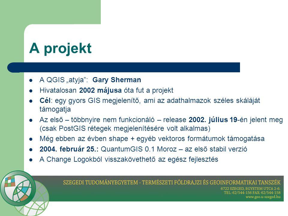 """A projekt  A QGIS """"atyja : Gary Sherman  Hivatalosan 2002 májusa óta fut a projekt  Cél: egy gyors GIS megjelenítő, ami az adathalmazok széles skáláját támogatja  Az első – többnyire nem funkcionáló – release 2002."""
