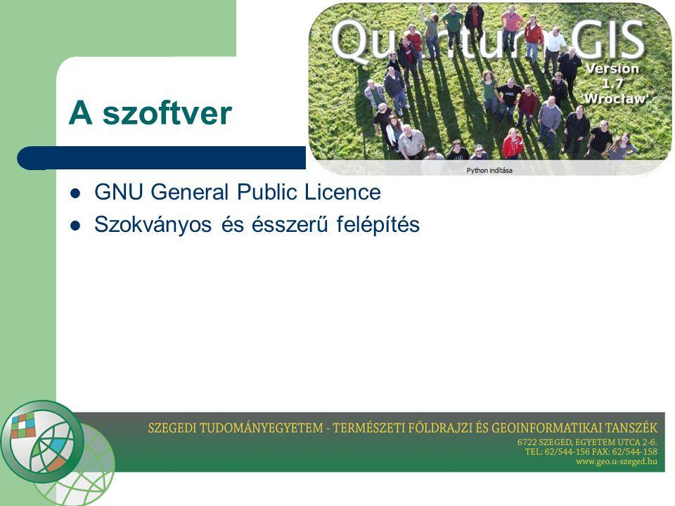 A szoftver  GNU General Public Licence  Szokványos és ésszerű felépítés