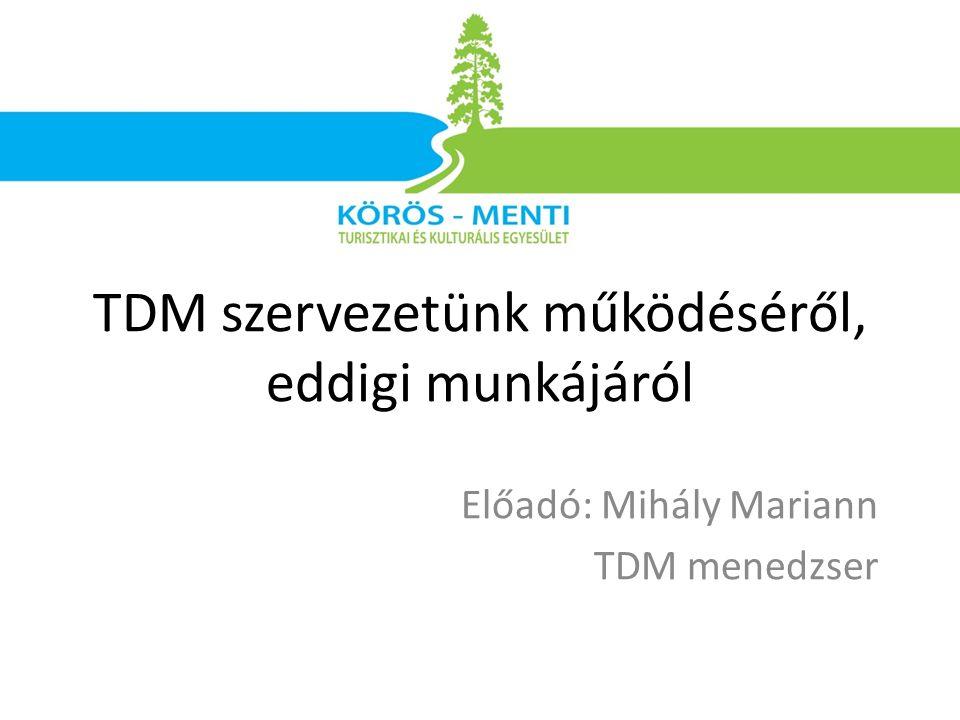 Előadó: Mihály Mariann TDM menedzser TDM szervezetünk működéséről, eddigi munkájáról