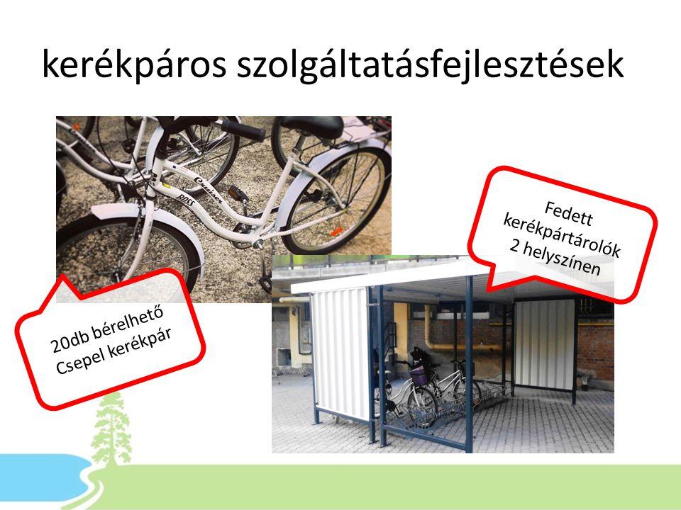 kerékpáros szolgáltatásfejlesztések Fedett kerékpártárolók 2 helyszínen 20db bérelhető Csepel kerékpár