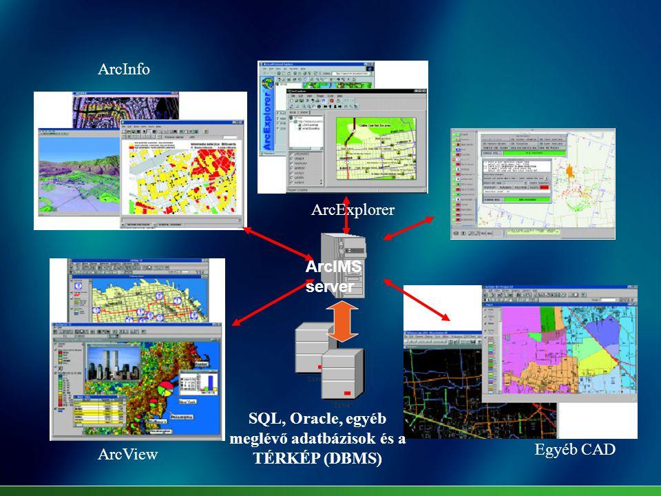 SQL, Oracle, egyéb meglévő adatbázisok és a TÉRKÉP (DBMS) ArcInfo ArcExplorer ArcView Egyéb CAD ArcIMS server