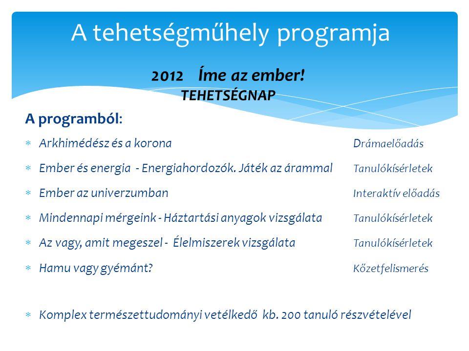 A programból:  Arkhimédész és a koronaD rámaelőadás  Ember és energia - Energiahordozók. Játék az árammal Tanulókísérletek  Ember az univerzumban I