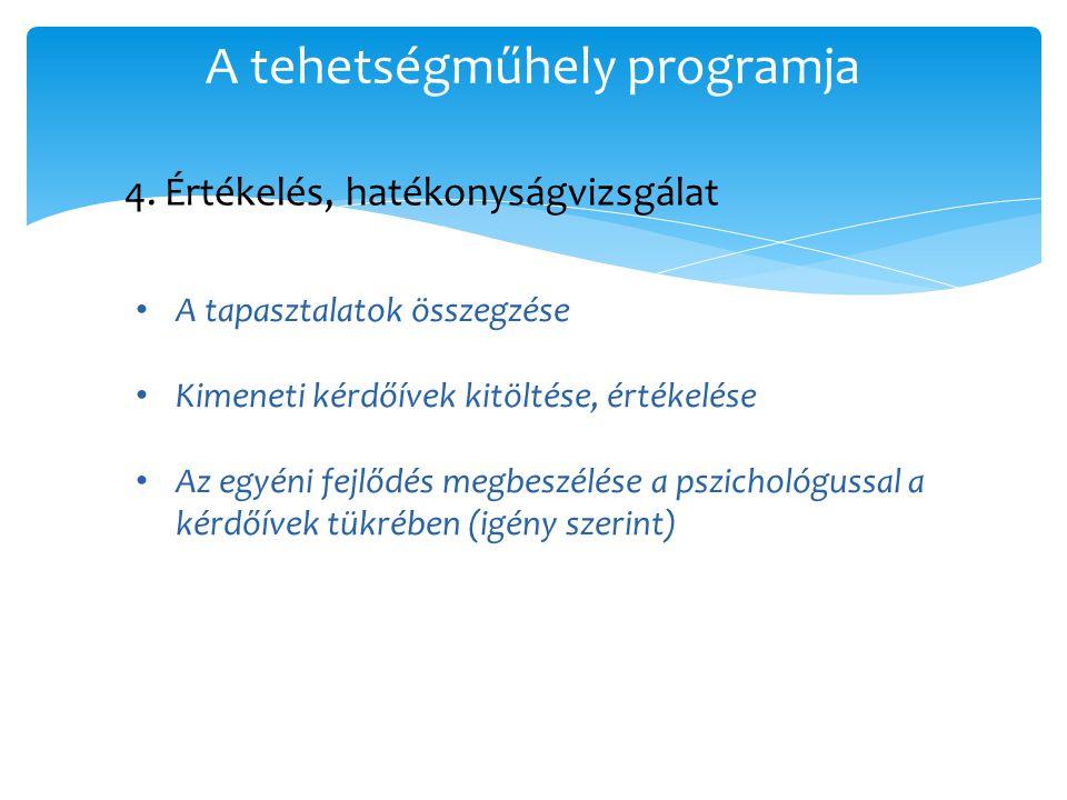 A tehetségműhely programja 4. Értékelés, hatékonyságvizsgálat • A tapasztalatok összegzése • Kimeneti kérdőívek kitöltése, értékelése • Az egyéni fejl