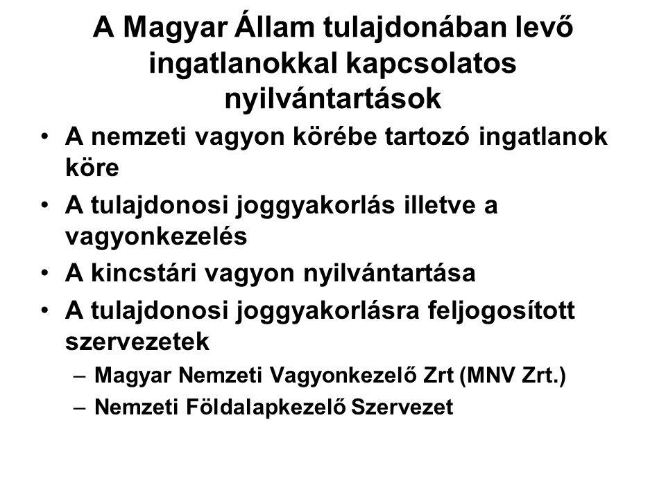 A Magyar Állam tulajdonában levő ingatlanokkal kapcsolatos nyilvántartások •A nemzeti vagyon körébe tartozó ingatlanok köre •A tulajdonosi joggyakorlá