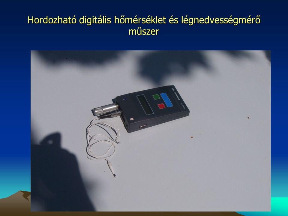 Hordozható digitális hőmérséklet és légnedvességmérő műszer