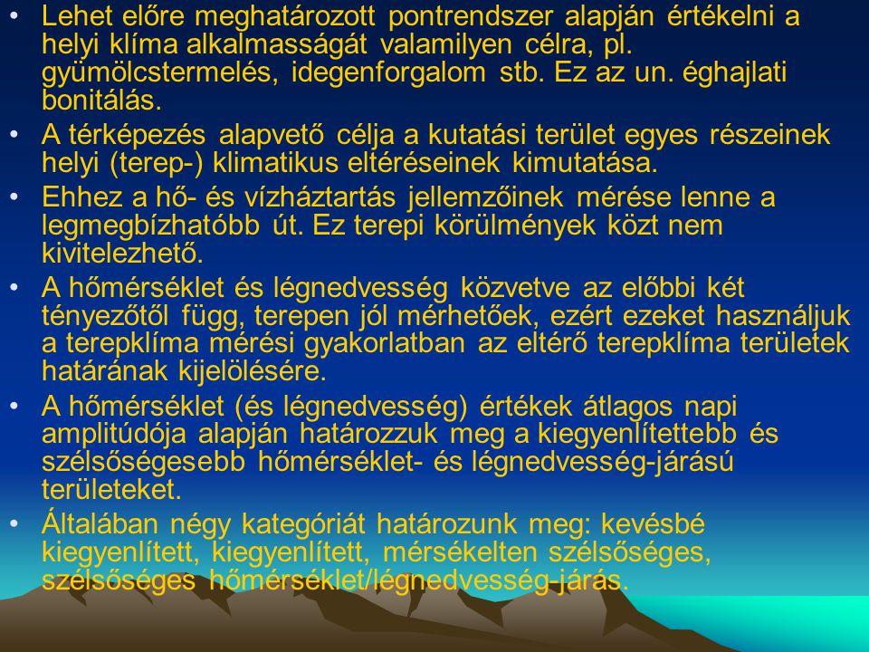 •Lehet előre meghatározott pontrendszer alapján értékelni a helyi klíma alkalmasságát valamilyen célra, pl. gyümölcstermelés, idegenforgalom stb. Ez a