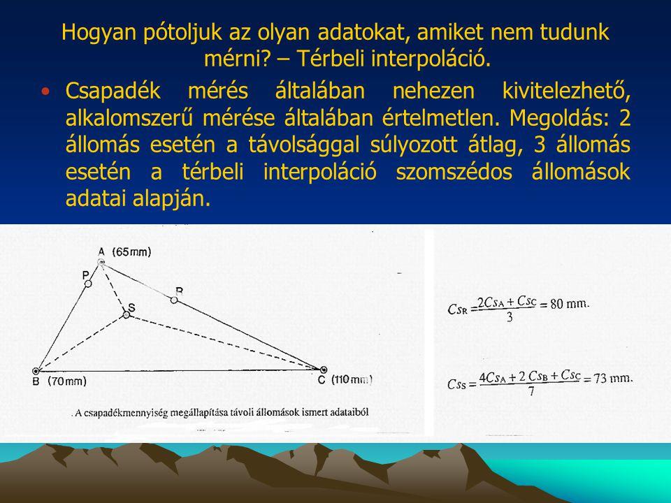 Hogyan pótoljuk az olyan adatokat, amiket nem tudunk mérni? – Térbeli interpoláció. •Csapadék mérés általában nehezen kivitelezhető, alkalomszerű méré