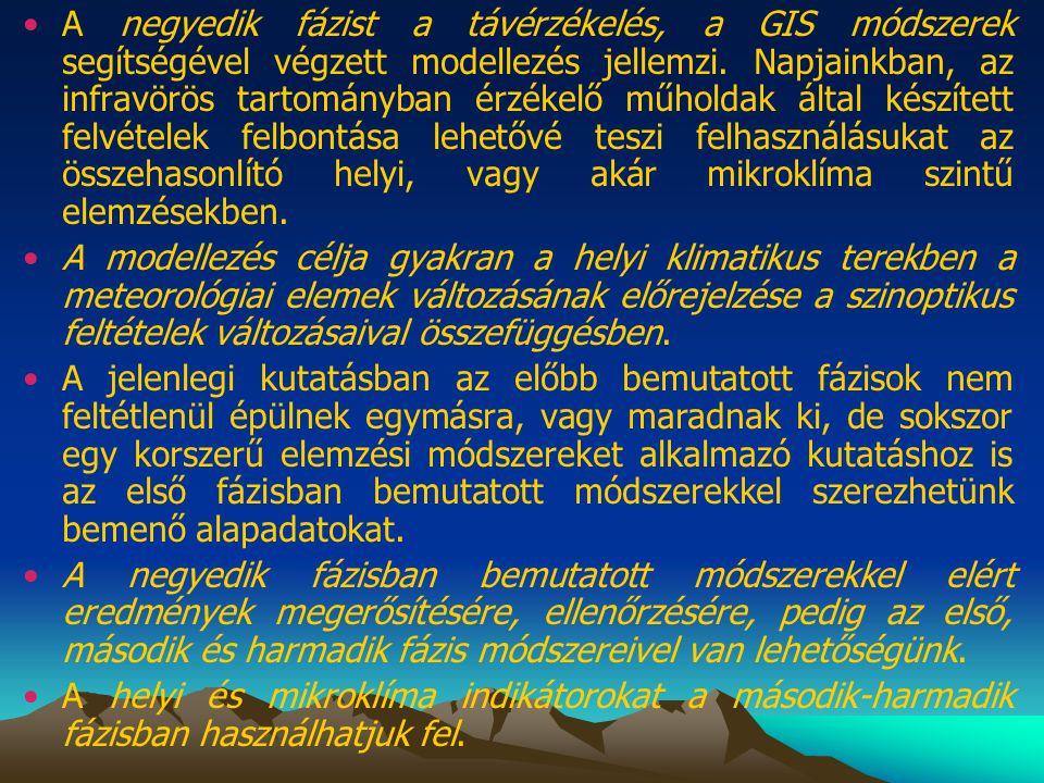 •A negyedik fázist a távérzékelés, a GIS módszerek segítségével végzett modellezés jellemzi. Napjainkban, az infravörös tartományban érzékelő műholdak