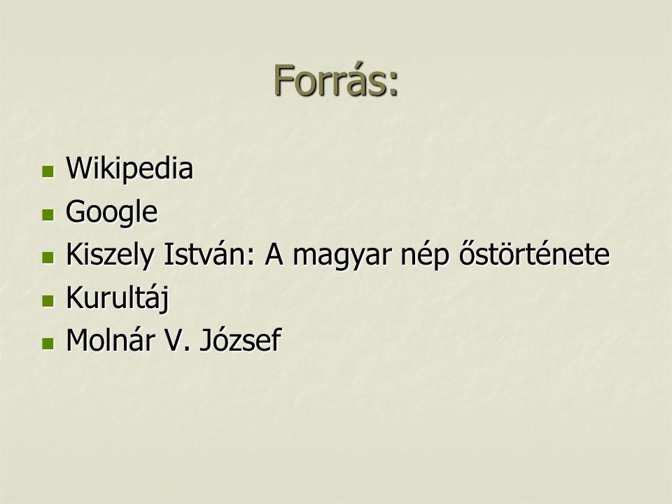 Forrás:  Wikipedia  Google  Kiszely István: A magyar nép őstörténete  Kurultáj  Molnár V.