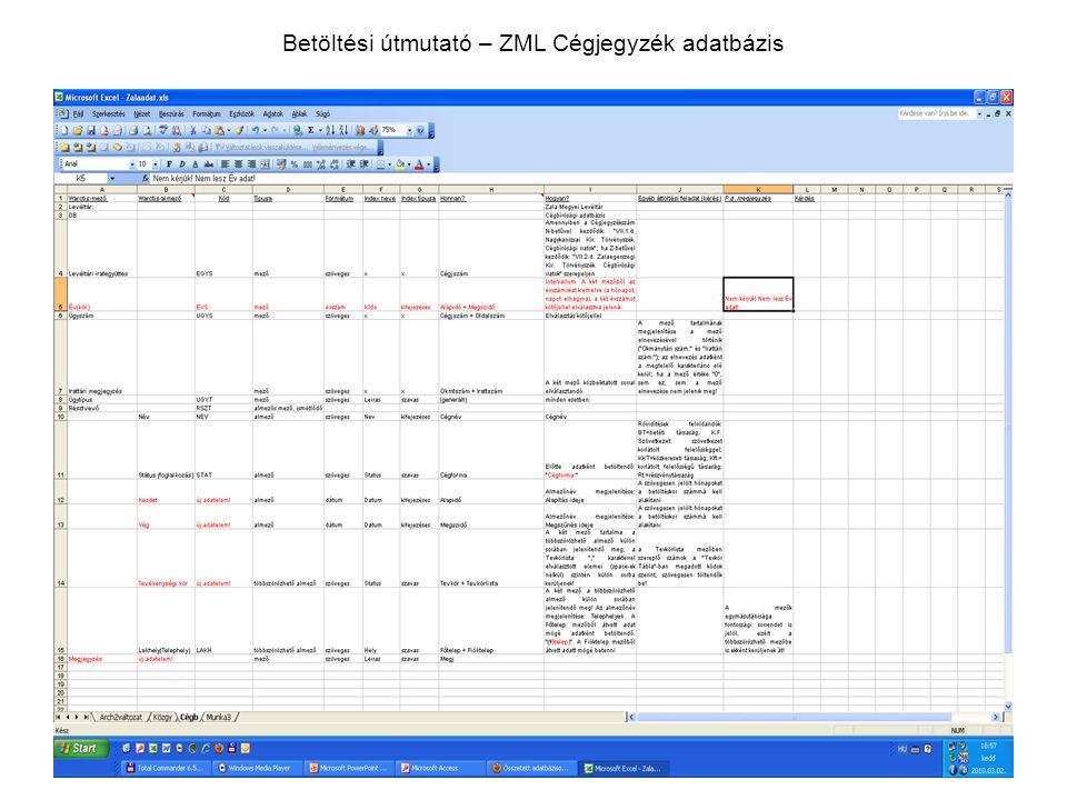 Betöltési útmutató – ZML Cégjegyzék adatbázis