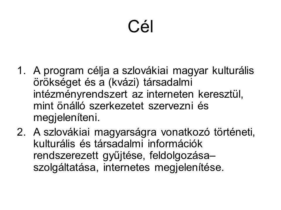 Cél 1.A program célja a szlovákiai magyar kulturális örökséget és a (kvázi) társadalmi intézményrendszert az interneten keresztül, mint önálló szerkez