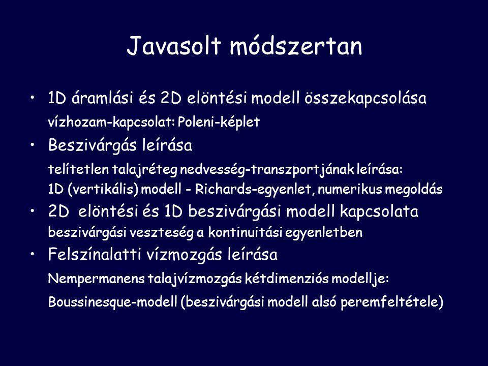 Javasolt módszertan •1D áramlási és 2D elöntési modell összekapcsolása vízhozam-kapcsolat: Poleni-képlet •Beszivárgás leírása telítetlen talajréteg nedvesség-transzportjának leírása: 1D (vertikális) modell - Richards-egyenlet, numerikus megoldás •2Delöntési és 1D beszivárgási modell kapcsolata beszivárgási veszteség a kontinuitási egyenletben •Felszínalatti vízmozgás leírása Nempermanens talajvízmozgás kétdimenziós modellje: Boussinesque-modell (beszivárgási modell alsó peremfeltétele)