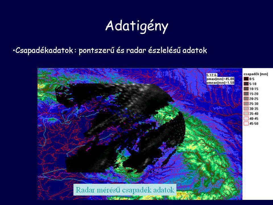 Adatigény •Csapadékadatok : pontszerű és radar észlelésű adatok