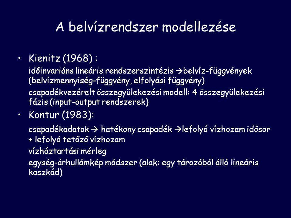 A belvízrendszer modellezése •Kienitz (1968) : időinvariáns lineáris rendszerszintézis  belvíz-függvények (belvízmennyiség-függvény, elfolyási függvény) csapadékvezérelt összegyülekezési modell: 4 összegyülekezési fázis (input-output rendszerek) •Kontur (1983): csapadékadatok  hatékony csapadék  lefolyó vízhozam idősor + lefolyó tetőző vízhozam vízháztartási mérleg egység-árhullámkép módszer (alak: egy tározóból álló lineáris kaszkád)