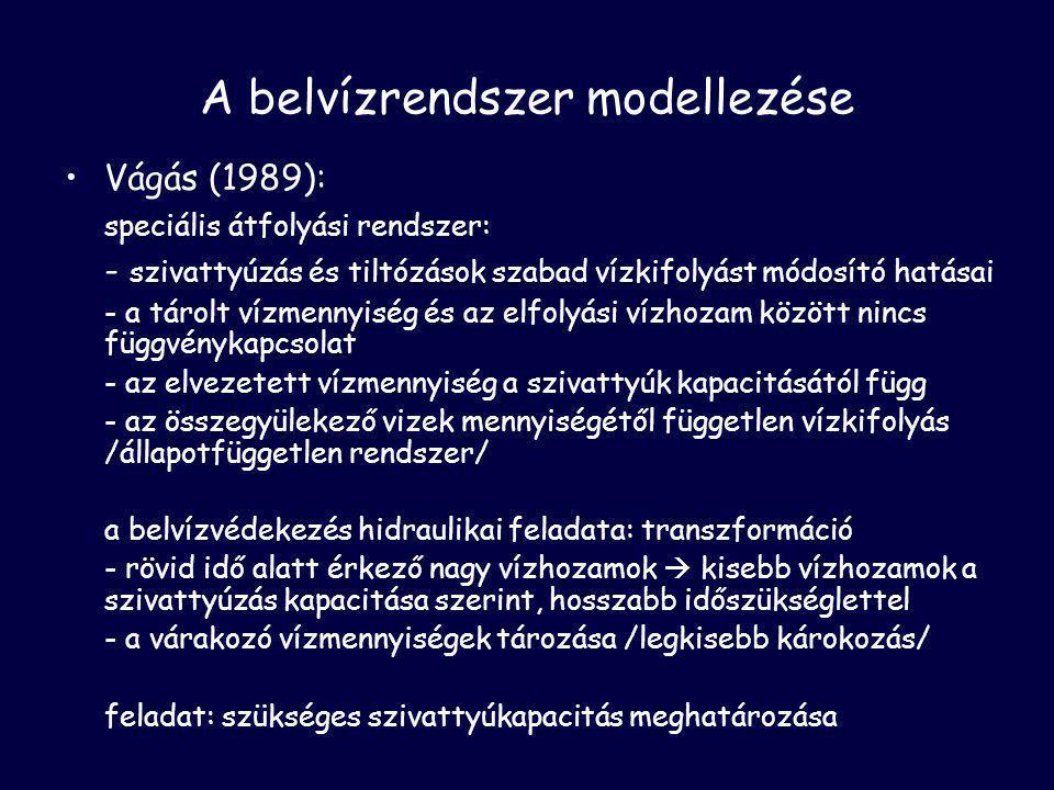 A belvízrendszer modellezése •Vágás (1989): speciális átfolyási rendszer: - szivattyúzás és tiltózások szabad vízkifolyást módosító hatásai - a tárolt vízmennyiség és az elfolyási vízhozam között nincs függvénykapcsolat - az elvezetett vízmennyiség a szivattyúk kapacitásától függ - az összegyülekező vizek mennyiségétől független vízkifolyás /állapotfüggetlen rendszer/ a belvízvédekezés hidraulikai feladata: transzformáció - rövid idő alatt érkező nagy vízhozamok  kisebb vízhozamok a szivattyúzás kapacitása szerint, hosszabb időszükséglettel - a várakozó vízmennyiségek tározása /legkisebb károkozás/ feladat: szükséges szivattyúkapacitás meghatározása