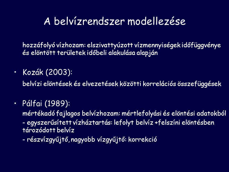 A belvízrendszer modellezése hozzáfolyó vízhozam: elszivattyúzott vízmennyiségek időfüggvénye és elöntött területek időbeli alakulása alapján •Kozák (2003): belvízi elöntések és elvezetések közötti korrelációs összefüggések •Pálfai (1989): mértékadó fajlagos belvízhozam: mértlefolyási és elöntési adatokból - egyszerűsített vízháztartás: lefolyt belvíz +felszíni elöntésben tározódott belvíz - részvízgyűjtő, nagyobb vízgyűjtő: korrekció
