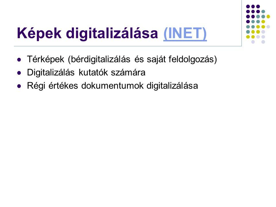 Képek digitalizálása (INET)(INET)  Térképek (bérdigitalizálás és saját feldolgozás)  Digitalizálás kutatók számára  Régi értékes dokumentumok digit