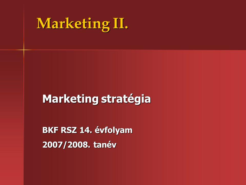 Marketing II. Marketing stratégia BKF RSZ 14. évfolyam 2007/2008. tanév