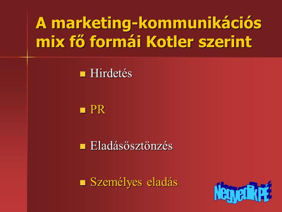A marketing-kommunikációs mix fő formái Kotler szerint  Hirdetés  PR  Eladásösztönzés  Személyes eladás