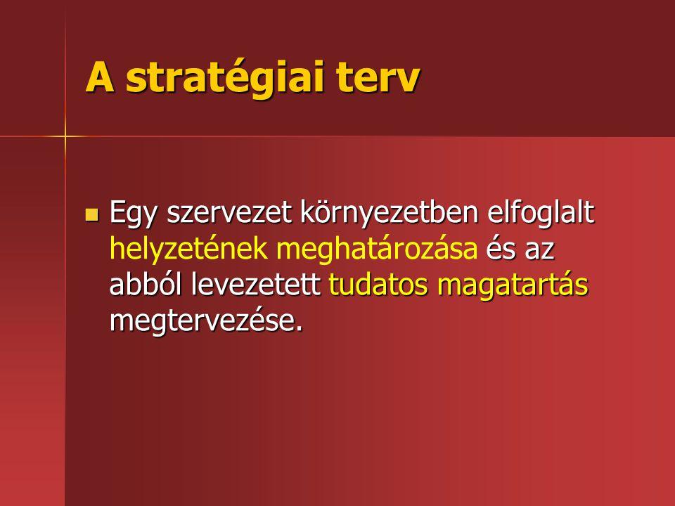 A stratégiai terv  Egy szervezet környezetben elfoglalt és az abból levezetett tudatos magatartás megtervezése.  Egy szervezet környezetben elfoglal