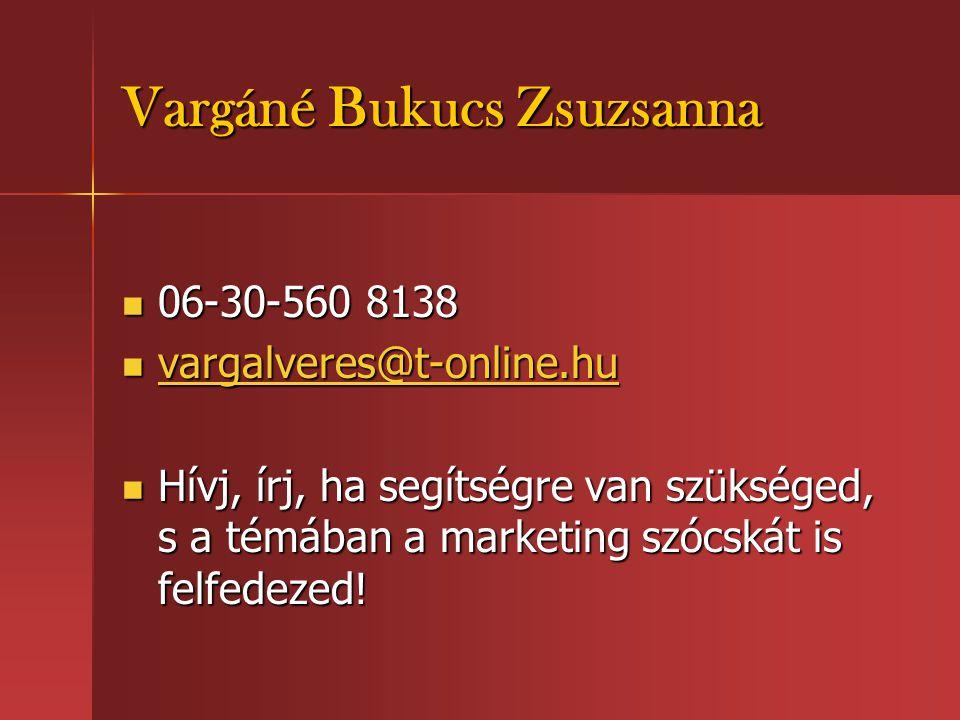 Vargáné Bukucs Zsuzsanna  06-30-560 8138  vargalveres@t-online.hu vargalveres@t-online.hu  Hívj, írj, ha segítségre van szükséged, s a témában a ma