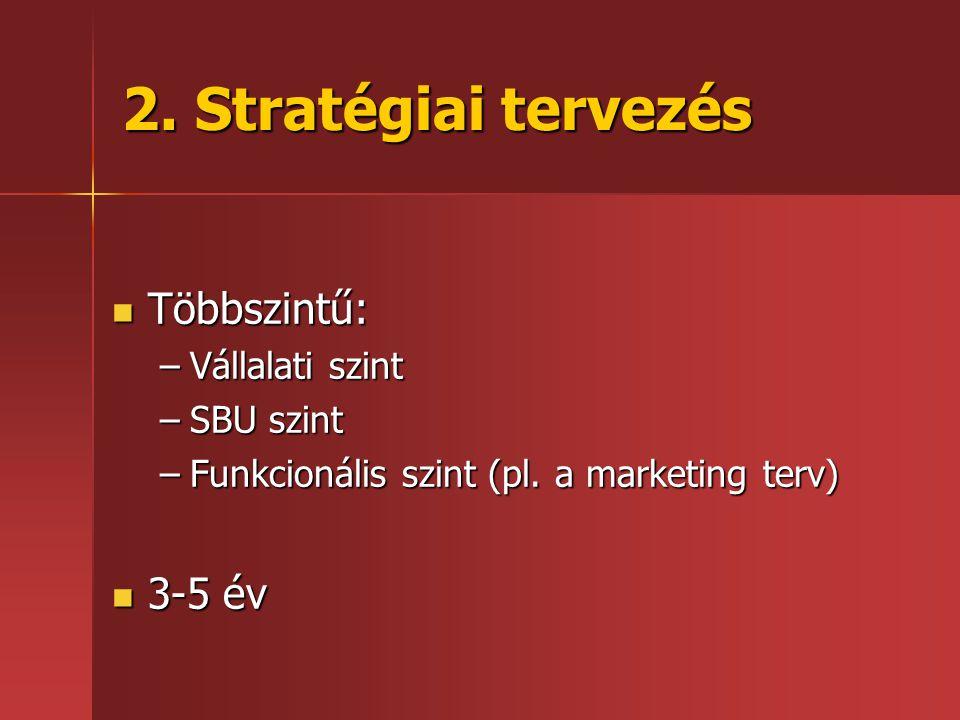 2. Stratégiai tervezés  Többszintű: –Vállalati szint –SBU szint –Funkcionális szint (pl. a marketing terv)  3-5 év