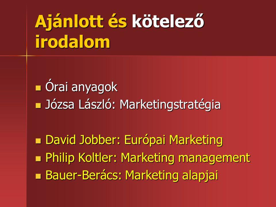 Ajánlott és kötelező irodalom  Órai anyagok  Józsa László: Marketingstratégia  David Jobber: Európai Marketing  Philip Koltler: Marketing manageme