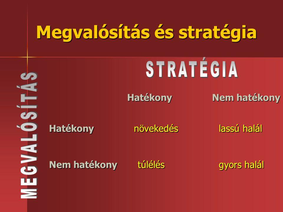 Megvalósítás és stratégia Hatékony Nem hatékony Hatékonynövekedéslassú halál Nem hatékony túlélésgyors halál