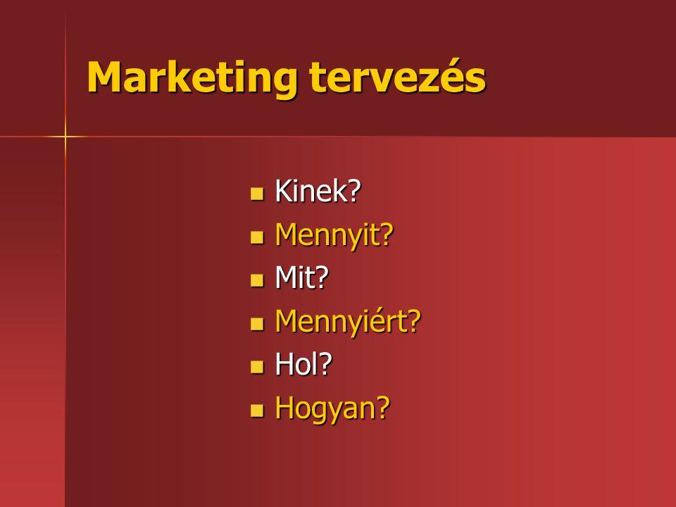 Marketing tervezés  Kinek?  Mennyit?  Mit?  Mennyiért?  Hol?  Hogyan?