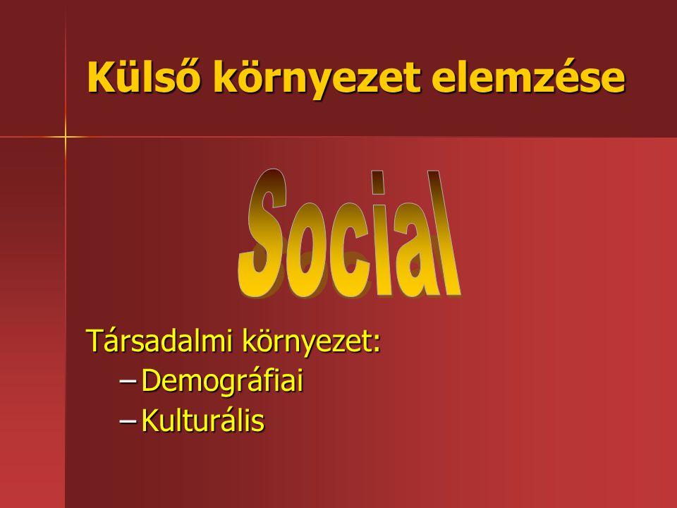 Társadalmi környezet: –Demográfiai –Kulturális