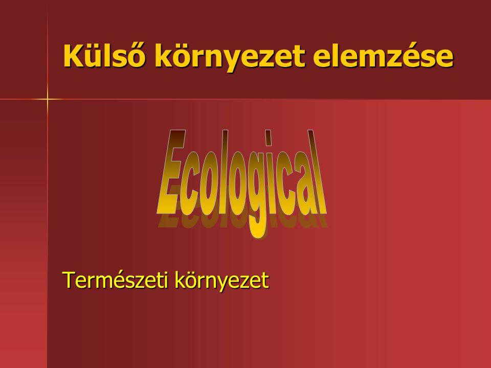 Külső környezet elemzése Természeti környezet